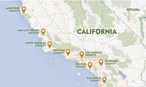 Map of California Avocado Growers